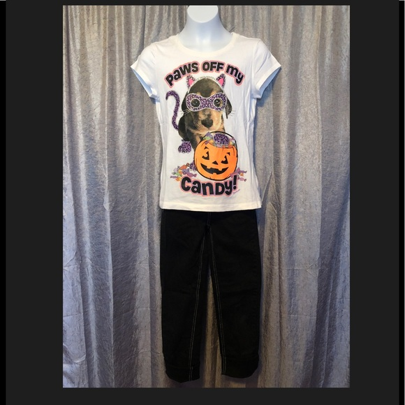 Justice Other - Justice Halloween tee and black jeans Size 10